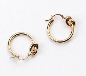 Gold Knot Hoop Earrings Celine Other Blogger Stories Mango Gift Brand New UK