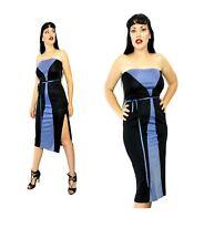 Blue Black Geometric Stripe 70s disco Strapless dress slinky Color block Retro M