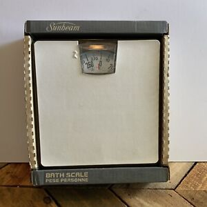NIB Vintage Sunbeam Bathroom Dial Scale White Brown Retro New Oldstock USA