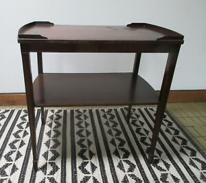 Hollywood Regency mahogany two-tiered side table Zangerle and Peterson Chicago