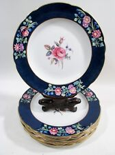 Antique SPODE Copeland PINK ROSES & Flowers 8 Luncheon Plates 2/6446 BILLINGSLEY