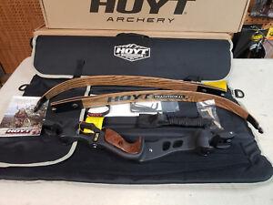"Hoyt Satori Recurve Bow 21"" Black Riser LH With 40# Medium Wood Limbs AMO 64"""