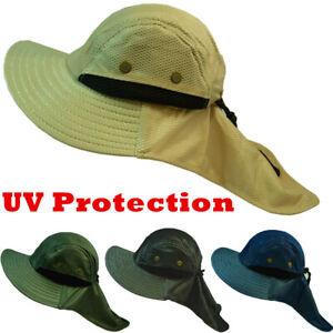 Men Boonie Snap Hat Brim Ear Neck Cover Fishing Hiking Garden Sun Flap Visor Cap