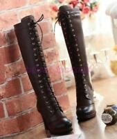 New Womens Genuine Leather Lace Up Brogue Knee High Boots Shoes Black/Brown Size