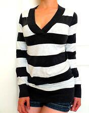 GAP V-Neck Knit Striped Sweater Warm Gray/White 100% Cotton Retail $44 NWT