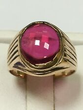 Unusual Antique 9 Carat Rose Gold GENTS Cabochon Cut Pink Spinel Ring