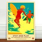 """Vintage UK Travel Poster Art ~ CANVAS PRINT 8x12"""" ~ Surf Pembrokeshire"""