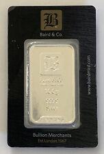 A Baird & Co. Bullion 100 g Silver Bar 999 Fine Silver