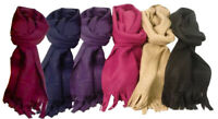 New Ladies Flagstaff Polar Fleece Coloured Winter Warm Scarf with Fringe