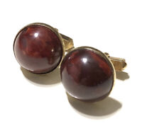 Vintage Swank Domed Marbled Red Bakelite and Gold Tone Cuff Links