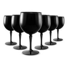 RB Balloon Gin Cocktail Glasses Black Premium Plastic Unbreakable Reusable 40cl,
