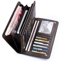 Billfold Men's Cowhide Leather ID Card Holder Zip Wallet Purse Clutch Checkbook