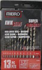 Mibro 245890 13pc HSS Metal Masonry Drill Bit Set