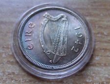 AU/BU 1942  IRELAND SUPERB SHILLING SILVER  RAINBOW TONED SPECIMEN W HOLDER