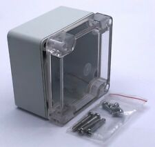 PVC Weatherproof Junction Box Enclosure 80x80x60mm Grey Base Transparent Lid