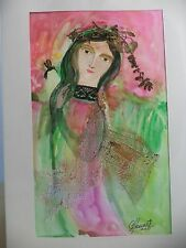 Cuban CUBA CHAMART Artist Charo Hand SIGNED Painting LADY BIRD PINK GREEN 45