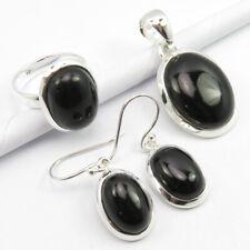 Rare Black Onyx Pendant Earrings Ring #6.75 3 Pieces Set 18 Grams, 925 Silver
