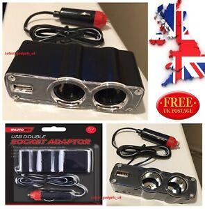 12V Dual Car Cigarette Lighter Socket Splitter Extension + USB Port Charger