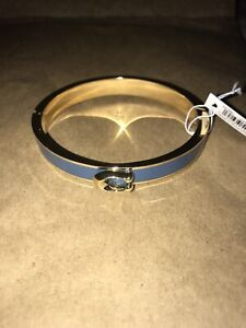 Coach Hinged Bangle Bracelet Gold Blue NWT $98 Retail