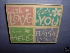HERO ARTS RUBBER STAMPS 4 WORD CONFETTI wood STAMP SET