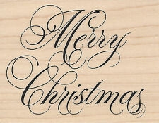 Fancy Merry Christmas Wood Mounted Rubber Stamp IMPRESSION OBSESSION New