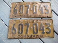 1927 27 NEW YORK NY LICENSE PLATE PAIR NICE SET YOM PR COMMERCIAL COM TRUCK