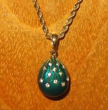 Russian FABERGE inspired GREEN ENAMEL & Swarovsky Crystal EGG pendant chain GIFT