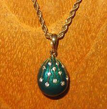 Russian FABERGE inspired GREEN ENAMEL & Swarovsky Crystal EGG pendant chain GIFT