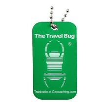 GREEN Geocaching QR Travel Bug® - Glow in the Dark Brille dans le noir
