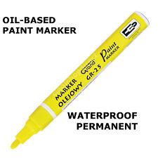 Yellow Paint Marker Oil Based Waterproof Pen Wood Glass Plastic Tyre Rubber