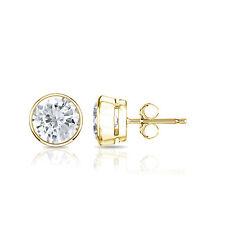 1ct 14k Yellow Gold TDW Bezel PushBack Round Diamond Stud Earrings