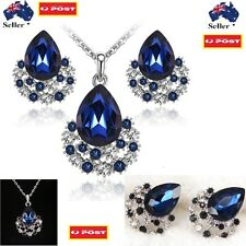Blue Crystal Gems Necklace Earring Ring Sets Valentine's Day Birthday Gift