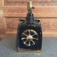 Vintage Mid Century Black and Gold Pottery Flower Table Lamp