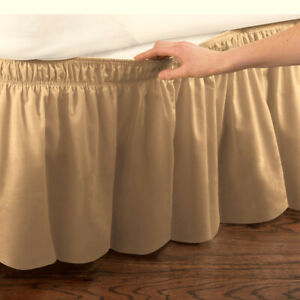Wrap-Around Bedskirt Elastic Fitted Dust Ruffle Bed Skirt Easy Fit 6 COLORS