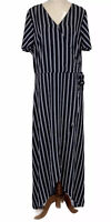 Crossroads Womens Black/White Striped Short Sleeve Long Maxi Dress Size 14