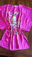 Pink Satin feel flower detail print kimono preowned free post E21