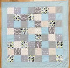 "Baby Boy's Quilt Handmade Grey Blue Patchwork Crib Blanket 42""x42"" NEW Arrows"