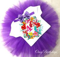 Little Mermaid Ariel Princess Birthday Cupcake Shirt Tutu Bow Headband Outfit
