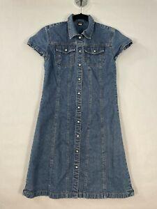 Vintage 90's Gap Denim Dress Girls XXL Short Sleeve Pearl Snap Blue