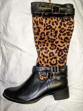 NEW BLACK / LEOPARD BOOTS - SIZE 5 - ROCK CHICK, ROCK'N'ROLL, ROCKABILLY, RETRO