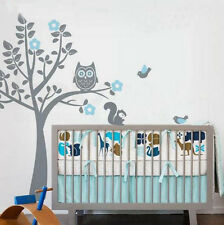 Wall Sticker Owl Decorations for Baby Room Vinyl Decal with Tree And Squirrel