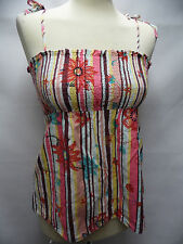 NEXT lovely pink multi floral print 100% cotton strappy sun top UK 8