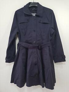 SUGARHILL Trench Coat Size 14 Navy Blue Pockets Belt Autumn Winter Cotton Blend