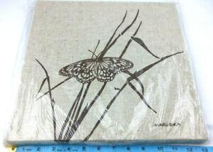 "Vintage 70s-80s Linen Textile Fabric Art Screen Prnt Marushka Butterfly 13"" x13"""