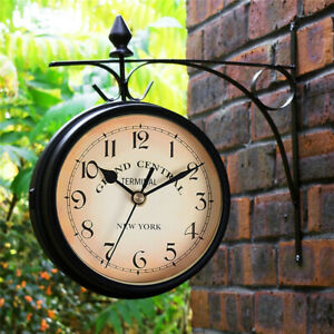 Outdoor Garden Gentral Station Wall Clock Rotate Double Sided Outside Bracket