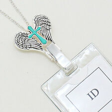 Angel Wing Cross Turquoise Clip ID Badge Tag Holder Necklace Lanyard Free Holder