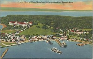 Aerial View Grand Hotel and Village Mackinac Island MI 1945 Postcard - Unposted