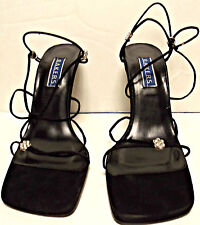 Black Strappy High Heel Evening Sandals w/Rhinestone Accents by Bakers   Size 8B