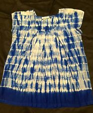 Large Tunic Top By CALVIN KLEIN Tie Dyed Royal Blue White Silk 1 Owner EUC