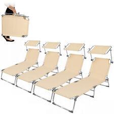 4x Alu Gartenliege Sonnenliege Liegestuhl Liege klappbar mit Dach 190cm beige